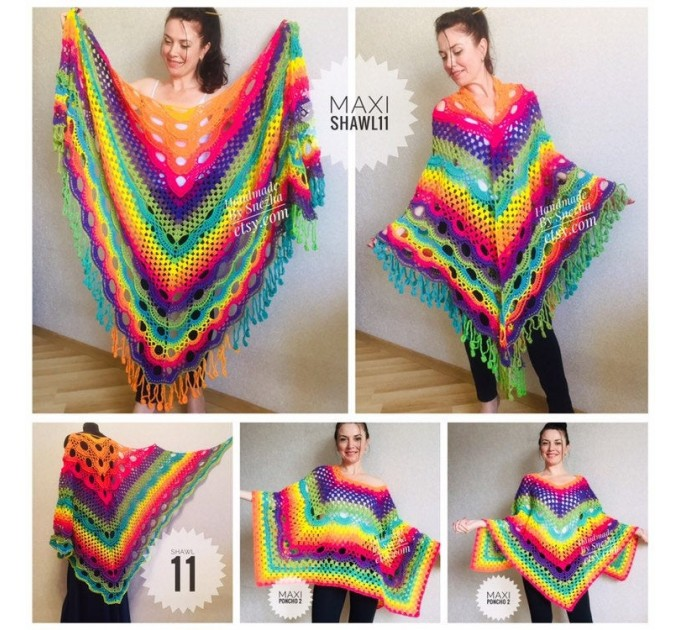 Rainbow Crochet Shawl Fringe Wraps OOAK Boho Lace Triangle Warm Shawl Mom Scarf Women Floral Hand Knit Shawl Large Big Crocheted  Shawl / Wraps  5