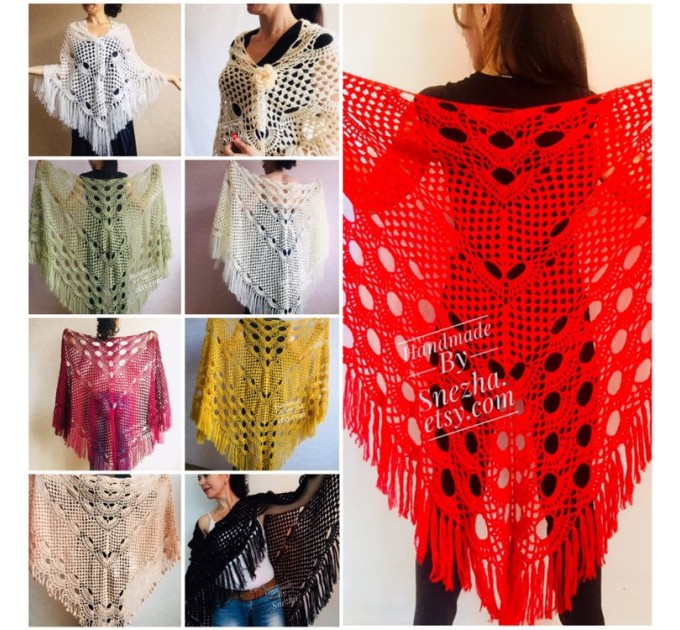 RED Crochet Shawl Fringe SHAWL BLACK Triangle Scarf Boho Shawl Women Evening Shawl Black Floral Scarf Hand Knit Scarf Lace Wool Knit Shawl  Shawl / Wraps  2
