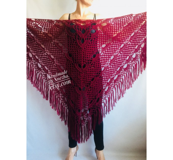 RED Crochet Shawl Fringe SHAWL BLACK Triangle Scarf Boho Shawl Women Evening Shawl Black Floral Scarf Hand Knit Scarf Lace Wool Knit Shawl  Shawl / Wraps  5