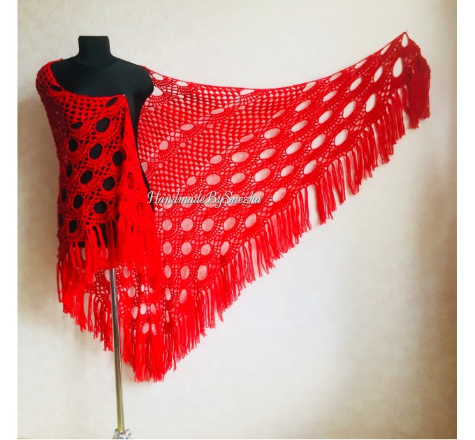 RED Crochet Shawl Fringe SHAWL BLACK Triangle Scarf Boho Shawl Women Evening Shawl Black Floral Scarf Hand Knit Scarf Lace Wool Knit Shawl