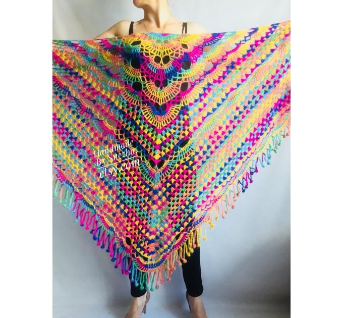 RED Crochet Shawl Fringe SHAWL BLACK Triangle Scarf Boho Shawl Women Evening Shawl Black Floral Scarf Hand Knit Scarf Lace Wool Knit Shawl  Shawl / Wraps  7