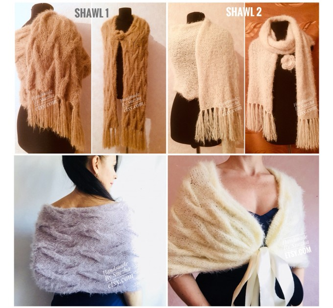 Wedding bridesmaid shawl Bridal Shoulder Wrap White bridal knit mohair Red shawl beige Winter bolero bridal cover up Ivory Fuzzy Blue shawl  Faux Fur  5