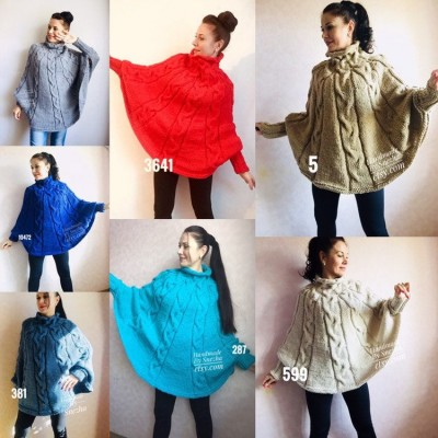 Knit Poncho Woman Crochet Plus Size Clothing Oversize Sweater Gray White Loose Winter Cable SweaterHand Knit Beige Red Convertible Cardigan