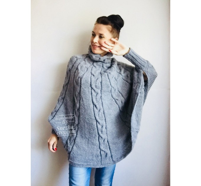 Knit Poncho Woman Crochet Plus Size Clothing Oversize Sweater Gray White Loose Winter Cable SweaterHand Knit Beige Red Convertible Cardigan  Poncho  10
