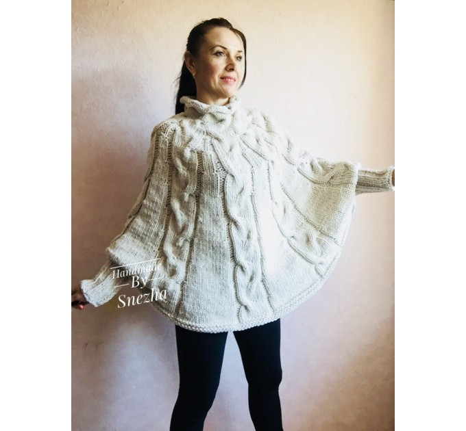 Knit Poncho Woman Crochet Plus Size Clothing Oversize Sweater Gray White Loose Winter Cable SweaterHand Knit Beige Red Convertible Cardigan  Poncho  2