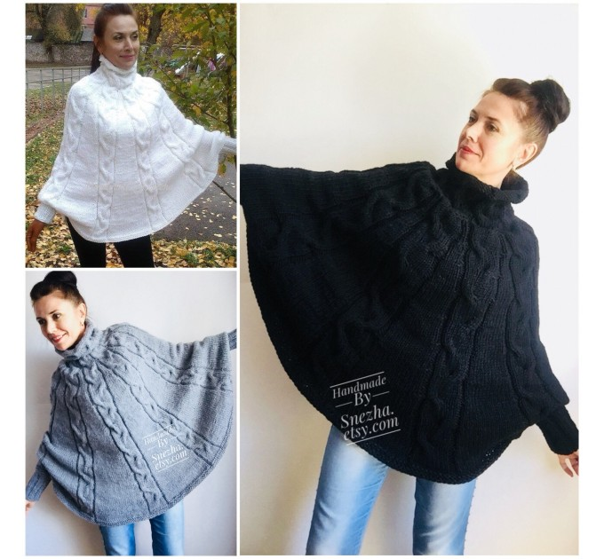 Knit Poncho Woman Crochet Plus Size Clothing Oversize Sweater Gray White Loose Winter Cable SweaterHand Knit Beige Red Convertible Cardigan  Poncho  3