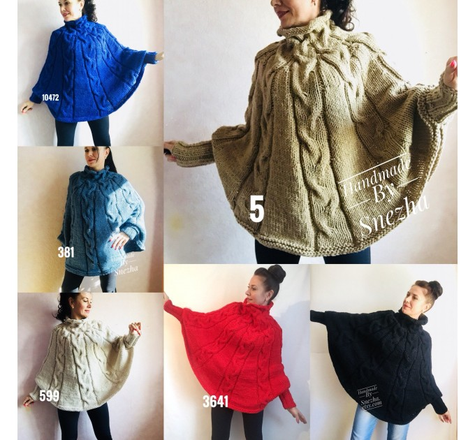 Knit Poncho Woman Crochet Plus Size Clothing Oversize Sweater Gray White Loose Winter Cable SweaterHand Knit Beige Red Convertible Cardigan  Poncho  5
