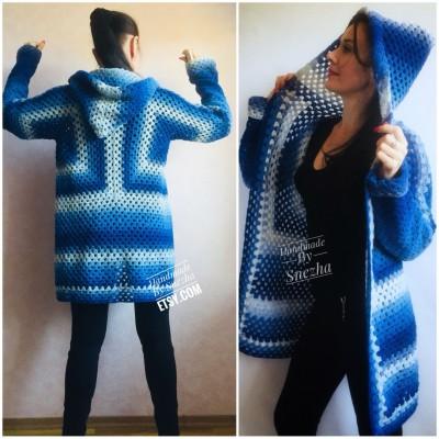 Blue White granny square jacket hood sweater Long sleeve knit Rainbow gradient cardigan woman Crochet Open plus size hippie wool boho coat