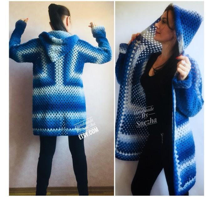 Blue White granny square jacket hood sweater Long sleeve knit Rainbow gradient cardigan woman Crochet Open plus size hippie wool boho coat  Cardigan