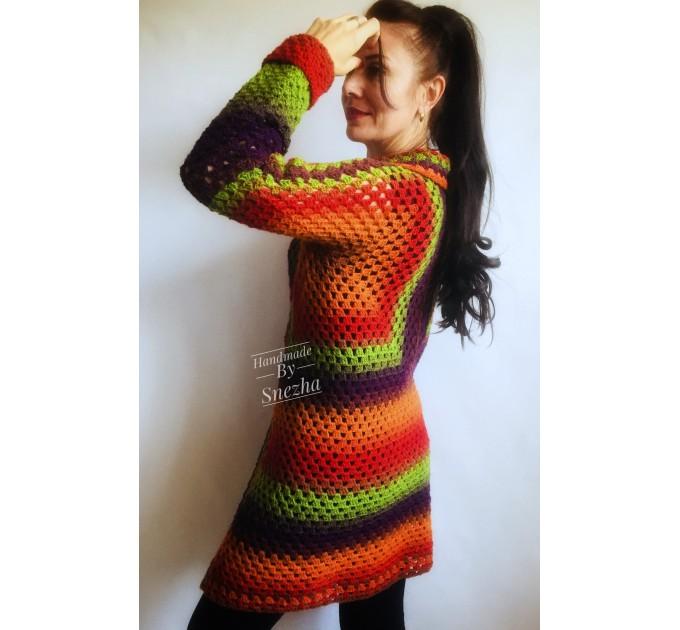 Blue White granny square jacket hood sweater Long sleeve knit Rainbow gradient cardigan woman Crochet Open plus size hippie wool boho coat  Cardigan  5