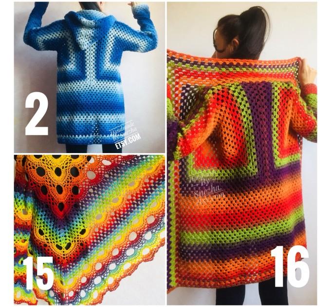 Blue White granny square jacket hood sweater Long sleeve knit Rainbow gradient cardigan woman Crochet Open plus size hippie wool boho coat  Cardigan  2