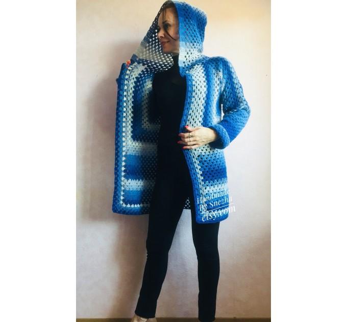 Blue White granny square jacket hood sweater Long sleeve knit Rainbow gradient cardigan woman Crochet Open plus size hippie wool boho coat  Cardigan  3