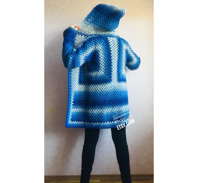 Blue White granny square jacket hood sweater Long sleeve knit Rainbow gradient cardigan woman Crochet Open plus size hippie wool boho coat  Cardigan  1