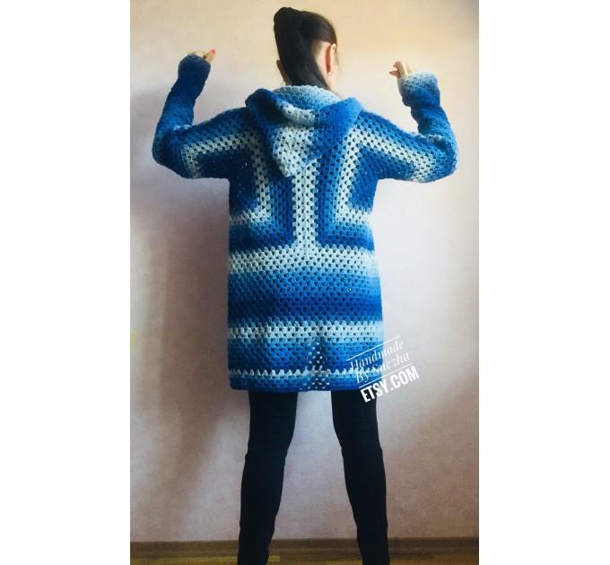 Blue White granny square jacket hood sweater Long sleeve knit Rainbow gradient cardigan woman Crochet Open plus size hippie wool boho coat  Cardigan  9