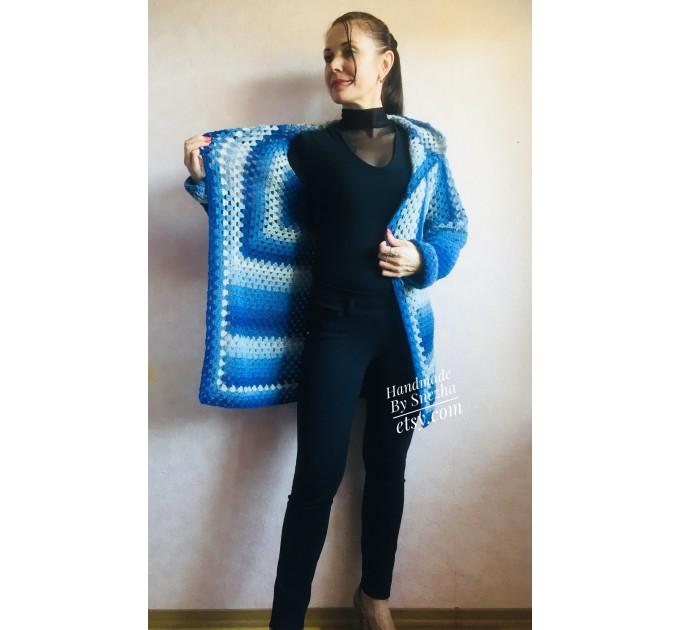 Blue White granny square jacket hood sweater Long sleeve knit Rainbow gradient cardigan woman Crochet Open plus size hippie wool boho coat  Cardigan  10