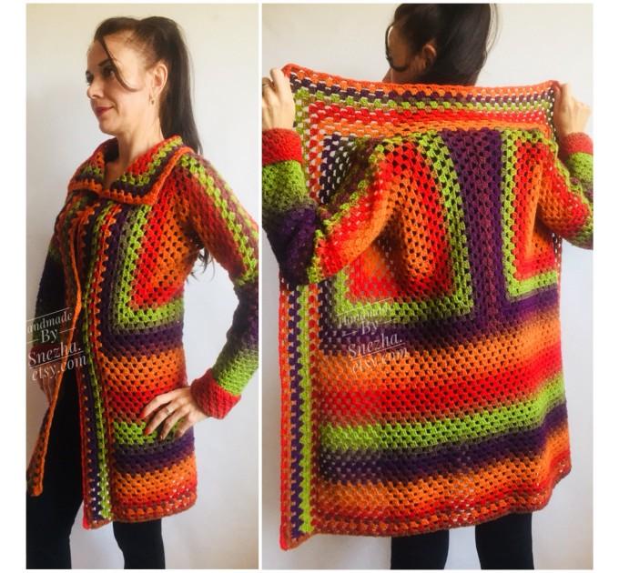 Blue White granny square jacket hood sweater Long sleeve knit Rainbow gradient cardigan woman Crochet Open plus size hippie wool boho coat  Cardigan  8
