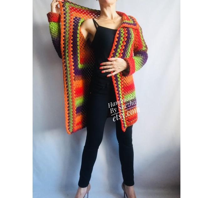 Blue White granny square jacket hood sweater Long sleeve knit Rainbow gradient cardigan woman Crochet Open plus size hippie wool boho coat  Cardigan  6