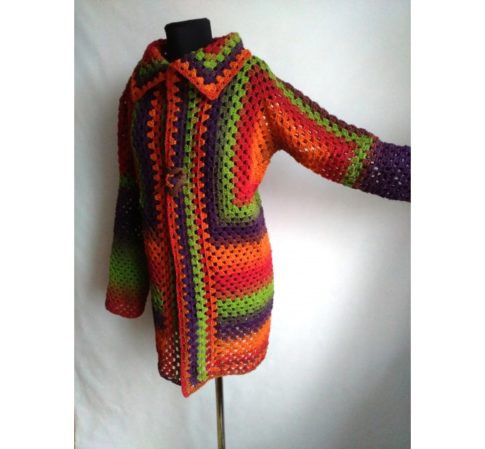 Blue White granny square jacket hood sweater Long sleeve knit Rainbow gradient cardigan woman Crochet Open plus size hippie wool boho coat  Cardigan  7