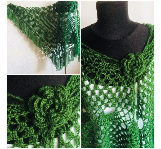 Green Bridesmaid Crochet Shawl Fringe Dark 50 COLOR GIFT brooch Granny Triangle Shawl Long Hand knit Woman Bohemian Hand Knit Wrap Oversize  Wedding  8