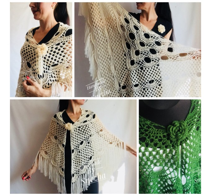 Green Bridesmaid Crochet Shawl Fringe Dark 50 COLOR GIFT brooch Granny Triangle Shawl Long Hand knit Woman Bohemian Hand Knit Wrap Oversize  Wedding  6
