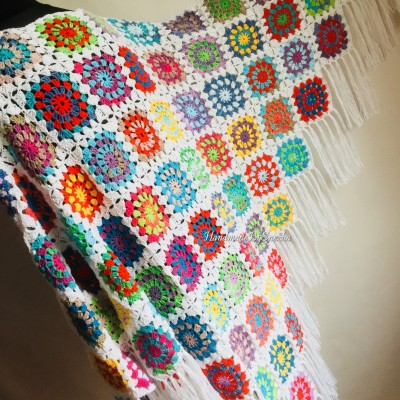 Granny Square Shawl Hand Knit Crochet Shawl Wraps Rainbow Fringe Triangle Cotton Summer Wedding Lace Open Bridesmaid Bohemian Long Shawl