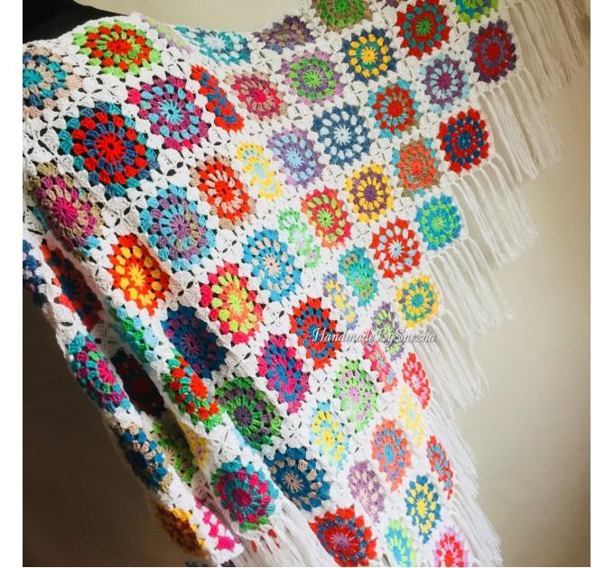 Granny Square Shawl Hand Knit Crochet Shawl Wraps Rainbow Fringe Triangle Cotton Summer Wedding Lace Open Bridesmaid Bohemian Long Shawl  Shawl / Wraps