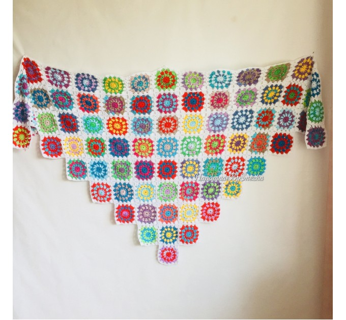 Granny Square Shawl Hand Knit Crochet Shawl Wraps Rainbow Fringe Triangle Cotton Summer Wedding Lace Open Bridesmaid Bohemian Long Shawl  Shawl / Wraps  7