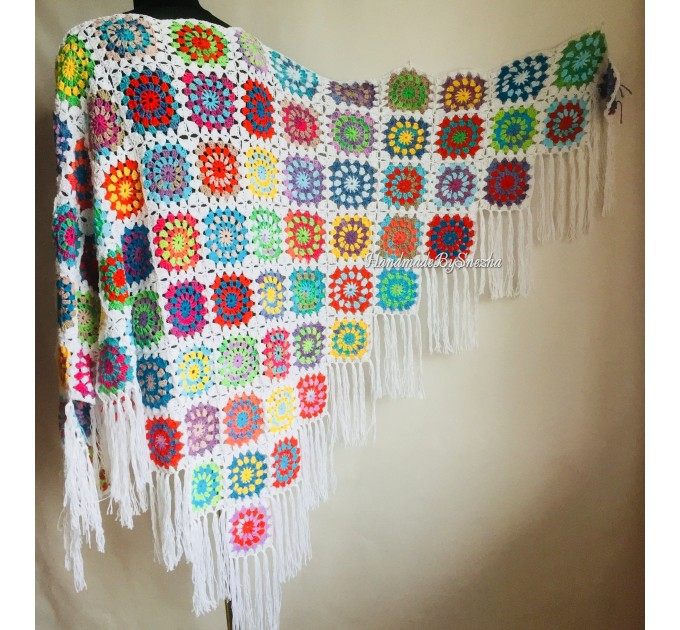 Granny Square Shawl Hand Knit Crochet Shawl Wraps Rainbow Fringe Triangle Cotton Summer Wedding Lace Open Bridesmaid Bohemian Long Shawl  Shawl / Wraps  2