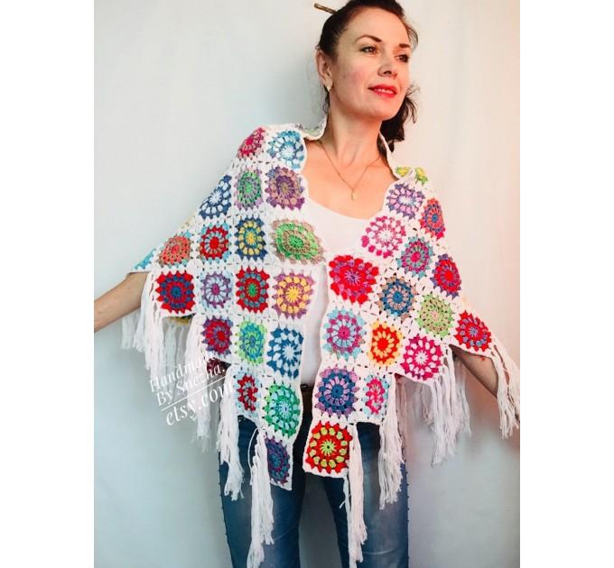 Granny Square Shawl Hand Knit Crochet Shawl Wraps Rainbow Fringe Triangle Cotton Summer Wedding Lace Open Bridesmaid Bohemian Long Shawl  Shawl / Wraps  3