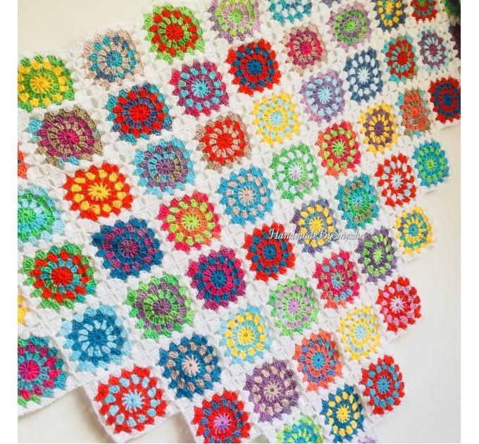 Granny Square Shawl Hand Knit Crochet Shawl Wraps Rainbow Fringe Triangle Cotton Summer Wedding Lace Open Bridesmaid Bohemian Long Shawl  Shawl / Wraps  4