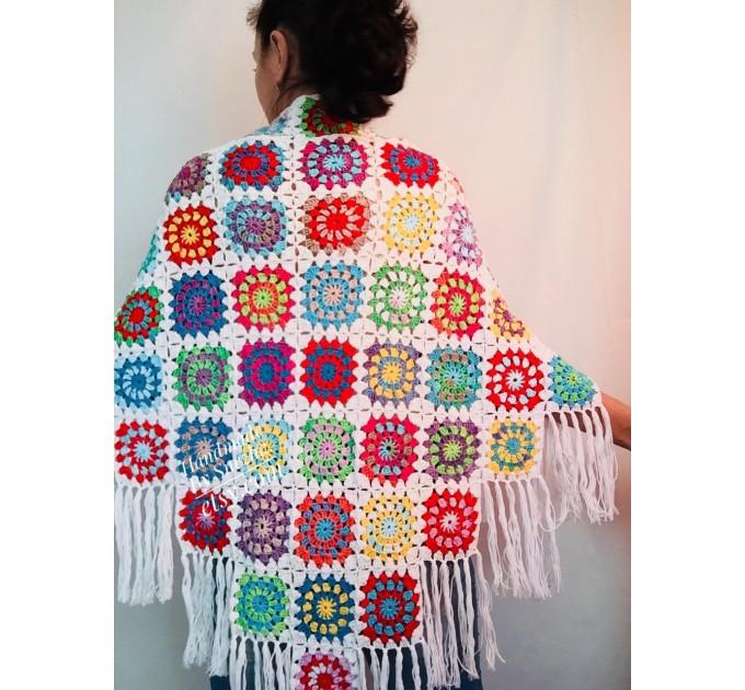 Granny Square Shawl Hand Knit Crochet Shawl Wraps Rainbow Fringe Triangle Cotton Summer Wedding Lace Open Bridesmaid Bohemian Long Shawl  Shawl / Wraps  5