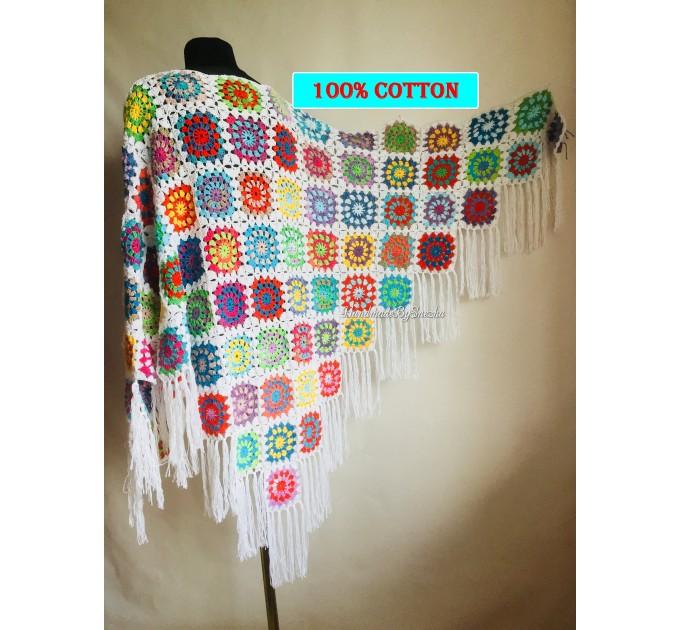 Granny Square Shawl Hand Knit Crochet Shawl Wraps Rainbow Fringe Triangle Cotton Summer Wedding Lace Open Bridesmaid Bohemian Long Shawl  Shawl / Wraps  6