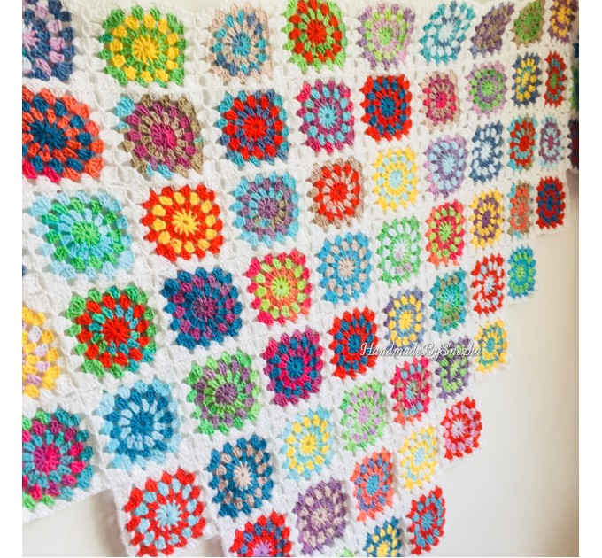 Granny Square Shawl Hand Knit Crochet Shawl Wraps Rainbow Fringe Triangle Cotton Summer Wedding Lace Open Bridesmaid Bohemian Long Shawl  Shawl / Wraps  9