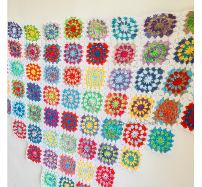 Granny Square Shawl Hand Knit Crochet Shawl Wraps Rainbow Fringe Triangle Cotton Summer Wedding Lace Open Bridesmaid Bohemian Long Shawl  Shawl / Wraps  10