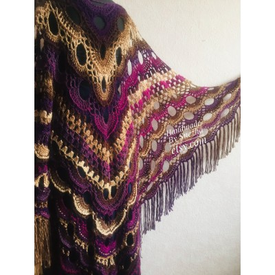 Violet crochet shawls and wraps Brooch pin Boho knit triangle scarf for women Festival mom birthday Gift For Her best friend gift grandma