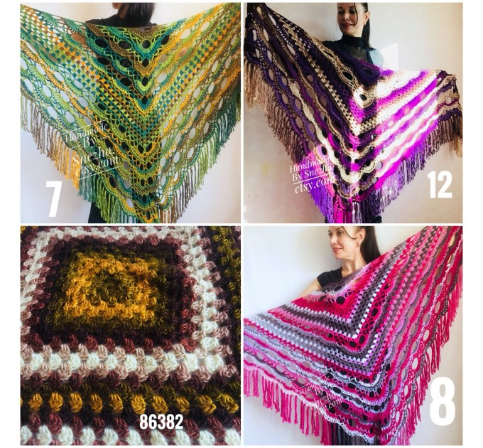 Violet crochet shawls and wraps Brooch pin Boho knit triangle scarf for women Festival mom birthday Gift For Her best friend gift grandma  Shawl / Wraps  3