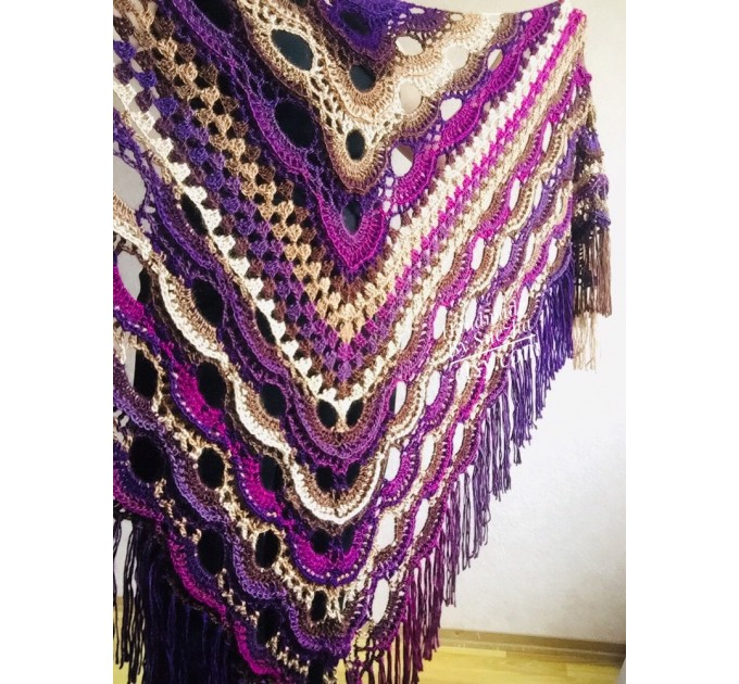 Violet crochet shawls and wraps Brooch pin Boho knit triangle scarf for women Festival mom birthday Gift For Her best friend gift grandma  Shawl / Wraps  5