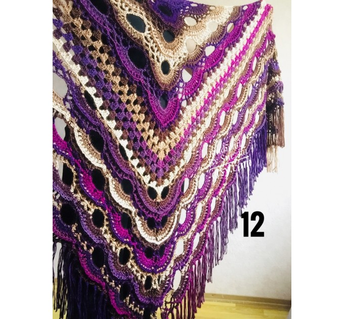 Violet crochet shawls and wraps Brooch pin Boho knit triangle scarf for women Festival mom birthday Gift For Her best friend gift grandma  Shawl / Wraps  9