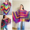 Rainbow Poncho Pride Women, Crochet outlander Triangle Shawl Wraps Fringe, Plus size Festival Vegan, Mom-Birthday-Gift-from-Daughter