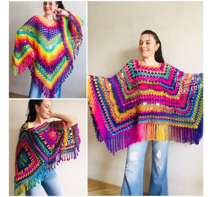 Rainbow Poncho Pride Women, Crochet outlander Triangle Shawl Wraps Fringe, Plus size Festival Vegan, Mom-Birthday-Gift-from-Daughter  Poncho  1