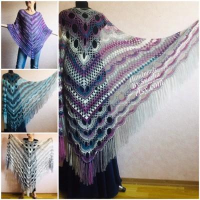 Crochet Shawl Poncho Women Fringe Mohair Big Size Maxi Triangle Shawl Gradient Blue Alpaca Long Hand knit Bohemian Festi Hand Knit Shawl