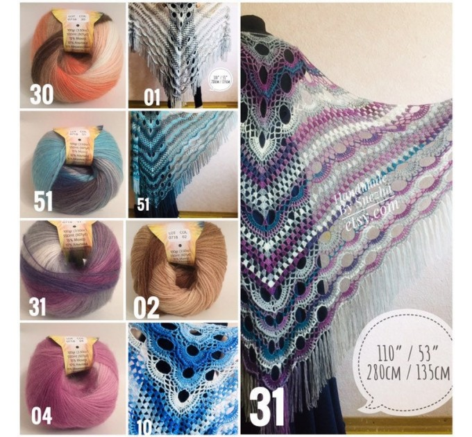 Crochet Shawl Poncho Women Fringe Mohair Big Size Maxi Triangle Shawl Gradient Blue Alpaca Long Hand knit Bohemian Festi Hand Knit Shawl  Shawl / Wraps  3