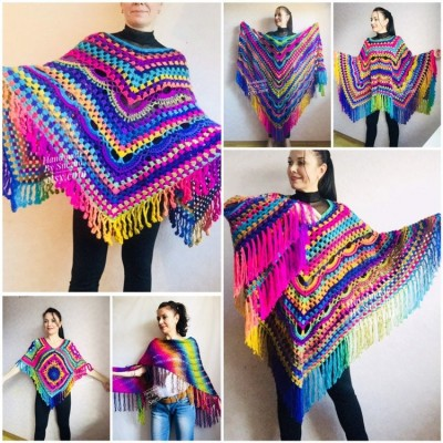 Rainbow Festival Plus Size Poncho, Shawl Pin, Easy Crochet Shawl Wraps, Shawl Fringe Boho Kimono Gift for-Women-Mom-Birthday-Gift, Hand Knit