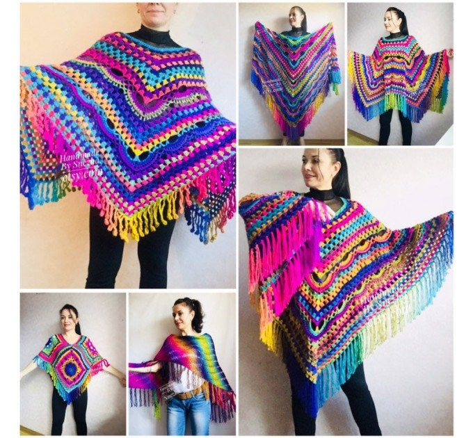 Rainbow Festival Plus Size Poncho, Shawl Pin, Easy Crochet Shawl Wraps, Shawl Fringe Boho Kimono Gift for-Women-Mom-Birthday-Gift, Hand Knit  Poncho