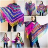 Rainbow Festival Plus Size Poncho, Shawl Pin, Easy Crochet Shawl Wraps, Shawl Fringe Boho Kimono Gift for-Women-Mom-Birthday-Gift, Hand Knit