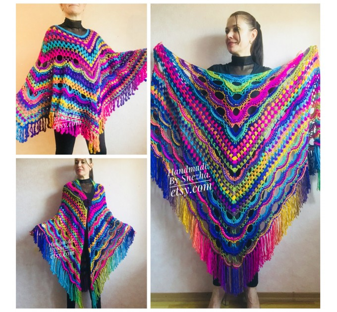 Rainbow Festival Plus Size Poncho, Shawl Pin, Easy Crochet Shawl Wraps, Shawl Fringe Boho Kimono Gift for-Women-Mom-Birthday-Gift, Hand Knit  Poncho  5