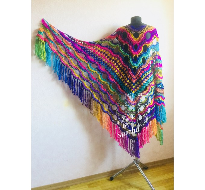 Rainbow Festival Plus Size Poncho, Shawl Pin, Easy Crochet Shawl Wraps, Shawl Fringe Boho Kimono Gift for-Women-Mom-Birthday-Gift, Hand Knit  Poncho  9