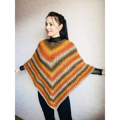 Burnt Orange granny square crochet poncho, PURPLE Wool knit sweater, Lavender Mohair Plus size spring festival Rainbow wrap gift-for-women