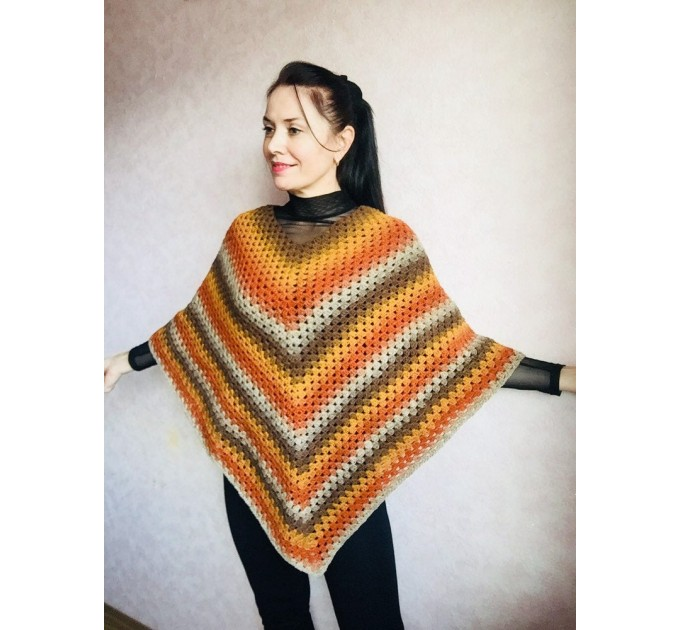 Burnt Orange granny square crochet poncho, PURPLE Wool knit sweater, Lavender Mohair Plus size spring festival Rainbow wrap gift-for-women  Poncho