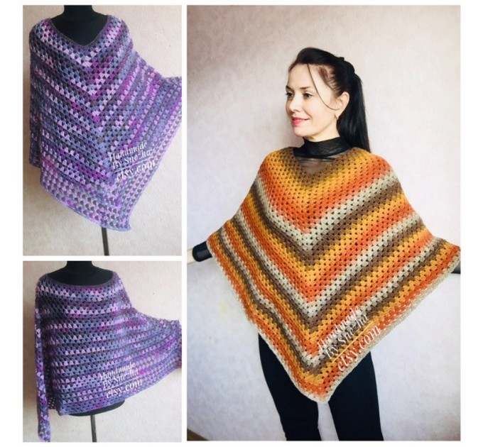 Burnt Orange granny square crochet poncho, PURPLE Wool knit sweater, Lavender Mohair Plus size spring festival Rainbow wrap gift-for-women  Poncho  2